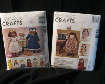 18 inch Doll Clothes Patterns, historical, McCall's 7435 and McCall's 8555 dresses, coats, hats, apron, top, panties, sweater, tights, boots