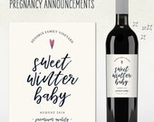 Custom Wine Label - Pregnancy Announcement! (Personalized) SWEET WINTER BABY