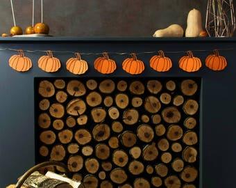 Rustic Pumpkin - Garland for Mantel - Fall Mantel Decor - Rustic Pumpkin Decoration - Thanksgiving Banners - Rustic Mantle Decor