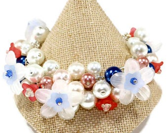 White Flower Bracelet Spring Flower Bracelet Unusual Jewelry Flowers Jewelry Flower Gift Love Gardening Gift Love Flowers Gift