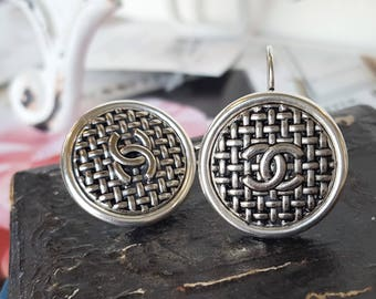 up-cycled Iconic Designer Button Earrings silver, classic woven pattern with insignia, Button Jewelry, Upcycled Jewelry veryDonna