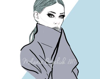 Print of an Original Fashion Illustration - Digital Art, Photoshop, Neutral Hues, Fashion Illustration, Fashion Art
