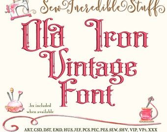 Old Iron Vintage Look Machine Embrodery font