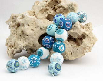 Himmel Perlenset aus Polymer Clay, handgefertigt, Fimo Millefiori, Millefleur, Art Clay, Kette, Blütenperlen