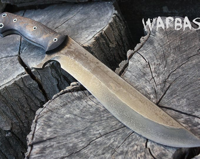 "Handcrafted ""Warbase"" survival, hunting or heavy chopper with full tang"