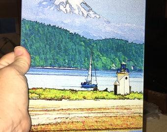 Gig Harbor Light - Glass Cutting Board - 7.75 in x 10.75 in