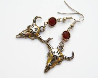 Cow Skull Birthstone Earrings, Personalized Bull Skeleton Earrings, Southwestern Earrings, Texas Jewelry, Desert Earrings, Country Earrings