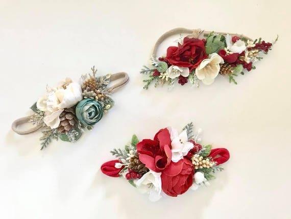 Christmas flower headbands- Made to Match Well Dressed Wolf- Flower Headbands- Flower Crown