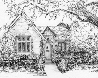 Custom House Portrait In Ink 8x 10 Drawing Of Your Home