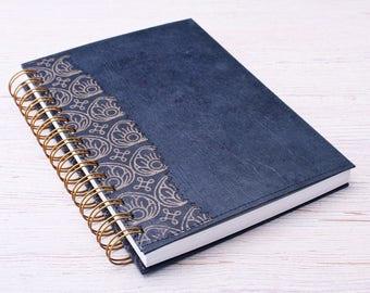 Blank black Notebook / black lotus journal / spiral notebook / eco friendly recycled notebook / sketchbook / unlined notebook / art journal