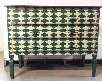 Gustavian Style Harlequin Pattern Painted Dresser Commode