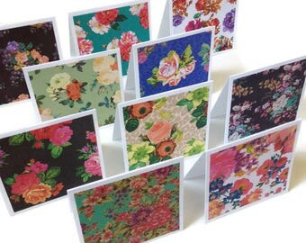 Set of 10 // 3x3 Mini Note Cards // Mini Floral Cards // Mini Note Cards // Floral Note Cards // Mini Note Card Set // Mini Cards