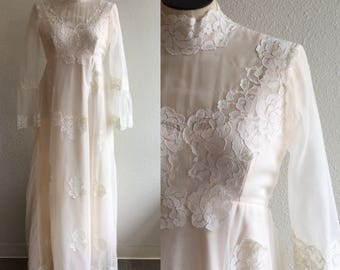 Shannon Wedding gown   Vintage 1970's bohemian wedding dress   1970's long sleeve lace and chiffon wedding dress