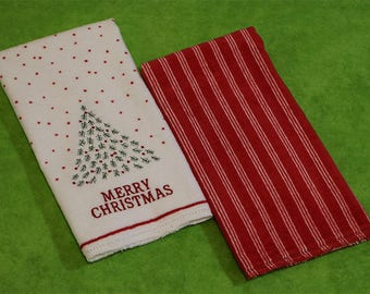 Hemstitched Kitchen Tea Towel Kit, Merry Christmas