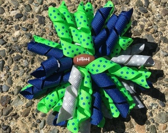 Hair Bow Clip - Seattle Seahawks Blue Green Gray Korker / Corker Hair Clip with Football Bead