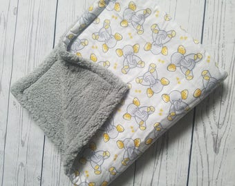 Elephant Flannel Blanket with Sherpa wool Carseat Blanket Crib Blanket Baby Blanket