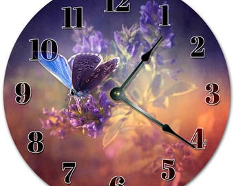 """10.5"""" BUTTERFLY on a FLOWER Clock - Living Room Clock - Large 10.5"""" Wall Clock - Home Décor Clock - 5136"""