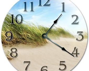 "10.5"" GRASSES on SAND Clock - Living Room Clock - Large 10.5"" Wall Clock - Home Décor Clock - 5146"