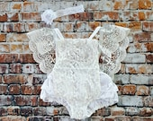 White Lace Boho Romper & Headband. Baby Girl Coming Home Outfit, 1st Birthday, Baptism Dress, Baby Shower Gift, Flower Girl, Blessing Dress