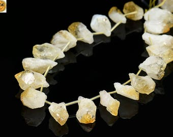 15 inch strand of natural citrine rough teardrop beads,Freedom nugget bead,cut nugget bead,Crystal Quartz bead,size for choose