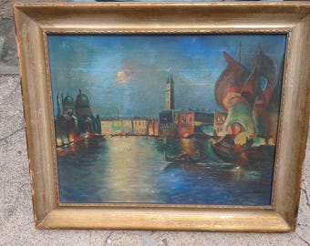 "VENICE ITALY Oil Canvas Vintage Original Painting Signed M.Lombardi 1955 20""x24"""