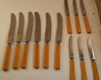 Vintage Norwegian Geilo Table Knife Set -- 6 Large Knives, 6 Small -- Stainless with Early Plastic Butterscotch Handles, Like Bakelite