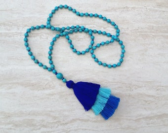 Tassel Stack Necklace Turquoise Bead Tassel Necklace Hand Knotted Beaded Tassel Necklace Statement Necklace Layered Tassel Necklace