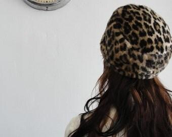 Leopard Faux Fur Pill Box Hat