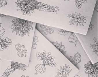 Root Vegetables Recycled Notebook - by Elle Karel Illustration