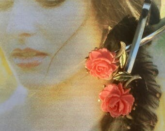 1stDayofSummerSALE Decorative Hair Pins 1940 1950 Vintage Bridal Coral Celluloid Rose Hairpins Bobby Pins