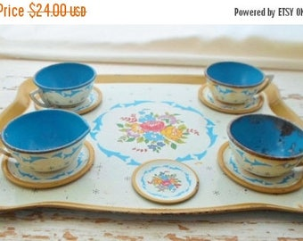 ON SALE Vintage Ohio Art Tin Litho Toy Dishes, Tray, Tea Cups, Tea Set, Made In USA, Floral, Blue, Toy Dishes, 50s, Toy, Play Dishes, Childs