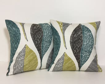 Designer petite pillow cover. Modern leaf linen-like pillow. grey, citron, teal pillow cover home decor accent