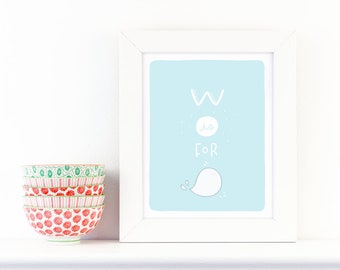 W is for Whale - screen print nursery art