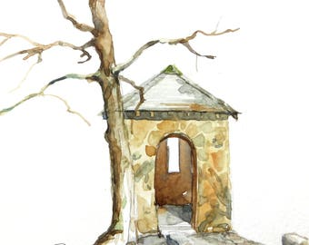 Spring House Watercolor