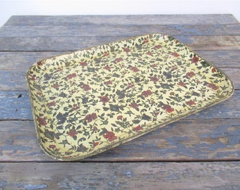 Vintage Paper Mache Tray, Gold Chintz Floral Tray, Shabby Chic Dresser Tray, Made in Japan, Gold Floral Tray, Trinket Tray