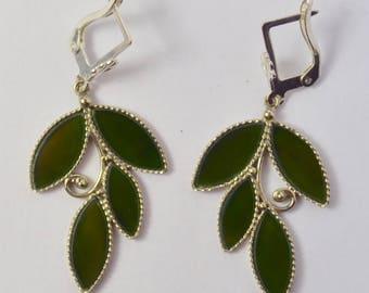 Green jade earrings, nephrite earrings artistan earrings , FREE SHIPPING