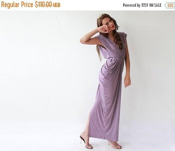 25% OFF Purple maxi bridesmaids gown, Short sleeves lavender dress 1008