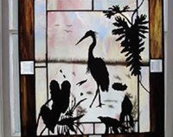 Stained Glass Embossed Heron #2 diminsions 26 x 20