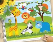 Safari Animals Clipart, Jungle, giraffe, snake, parrots, monkey, rhino, lion, zebra, Commercial Use, Vector clip art, SVG Cut Files