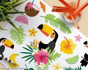Tropical Toucan Clipart - Tropical Birds, Toucan, bird of paradise, margarita, summer, hibiscus flowers, starfish, Vector SVG clipart