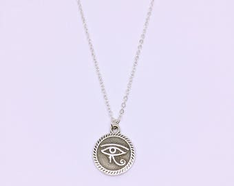 Silver Plated Evil Eye Medallion Charm Necklace