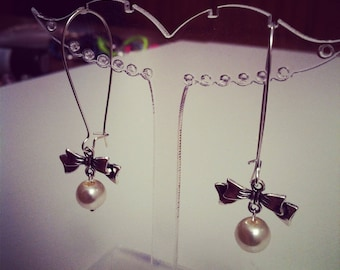 Earrings large bows ecru silver clasps
