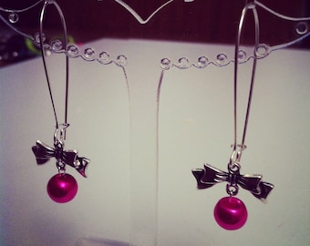 Earrings large bows fuchsia silver clasps