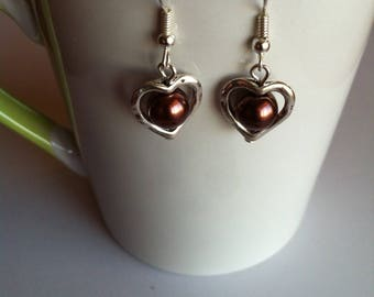 Valentine hearts and Brown Pearl Earrings