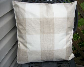 Tan and Beige Buffalo Check Pillow Cover, 18 x 18  Pillow Cover, Farmhouse French Country Checkered Plaid Pillow Cover Zipper Closure
