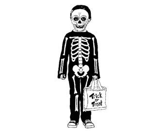 Skeleton Boy 1570E Beeswax Rubber Stamps Unmounted, Cling, Mounted Stamp Halloween Trick or Treater