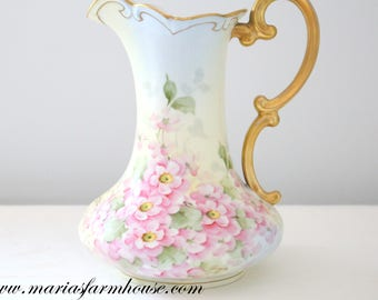 PITCHER, Antique, Signed, Handpainted Pitcher, Repurposed Floral Vase by Vienna Austria, Burnished Gold, Gifts for Her - ca. 1898 - 1920