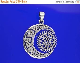 ON SALE Sterling Silver Sun and Moon Pendant Amulet Pagan Celtic Knotwork