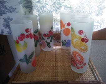 Beautiful Set of Six Frosted Fruit Themed Iced Tea Glasses - Federal Tall Glasses - Colorful Fruit Glasses - Tom Collins Glasses