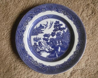 Vintage Blue Willow Dinner Plate - Blue Willow - Blue Willow Plate - Blue And White Plate